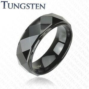 Wolframový prsten - černý, zkosené hrany - Velikost: 66