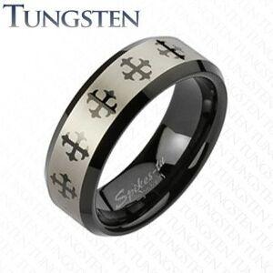 Wolframový prsten s křížem a stříbrným pásem - Velikost: 64
