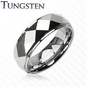 Wolframový prsten se zkosenými kosočtverci, stříbrná barva - Velikost: 51