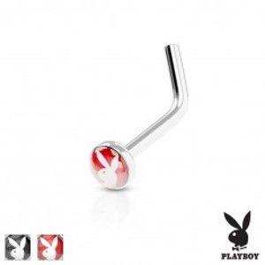 Zahnutý piercing do nosu, ocel 316L, barevné kolečko se zajíčkem Playboy AB30.27