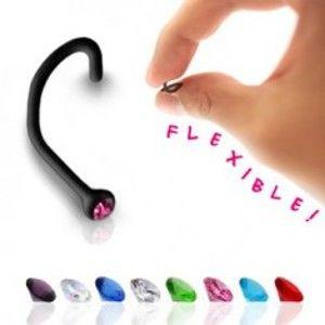 Zahnutý piercing do nosu z černého bioflexu, barevný zirkon PC10.23/30