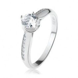 Zásnubní prsten, stříbro 925, oblá zdobená ramena, čirý kulatý zirkon R27.12