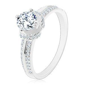 Zásnubní prsten, stříbro 925, tenké zirkonové pásy, kulatý zirkon - Velikost: 51