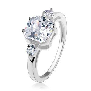 Zásnubní prsten, stříbro 925, velký čtvercový zirkon, kulaté zirkonky po stranách - Velikost: 49