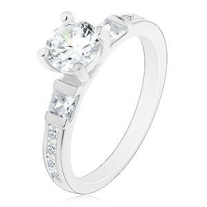Zásnubní prsten, stříbro 925, velký kulatý zirkon, třpytivá ramena - Velikost: 53