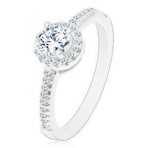 Zásnubní prsten - stříbro 925, zářivý kulatý zirkon čiré barvy ve třpytivém kruhu - Velikost: 56