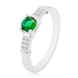 Zásnubní prsten, stříbro 925, zirkonová ramena, kulatý zelený zirkon - Velikost: 65