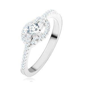 Zásnubní prsten ze stříbra 925, čiré zirkonové srdce, zatočené linie - Velikost: 61