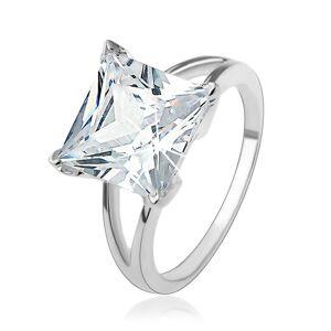 Zásnubní stříbrný 925 prsten s masivním čtvercovým zirkonem - Velikost: 51