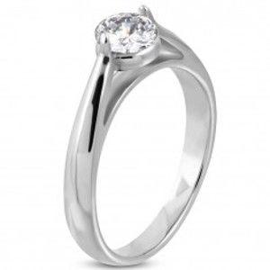 Zásnubní prsten, ocel 316L stříbrné barvy, čirý zirkon, zaoblená ramena M11.27