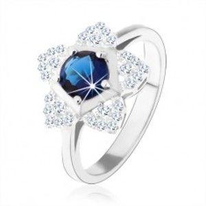 Zásnubní prsten, stříbro 925, blyštivý kvítek, kulatý modrý zirkon HH2.10