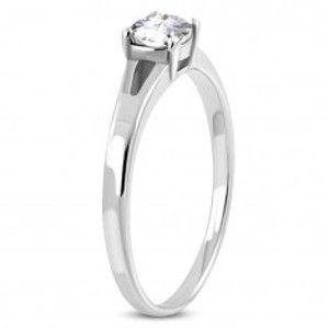 Zásnubní prsten z chirurgické oceli, stříbrná barva, čirý zirkon, rozdělená ramena M11.31