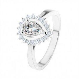 Zásnubní prsten ze stříbra 925, blyštivá kapka z čirých zirkonů SP55.01