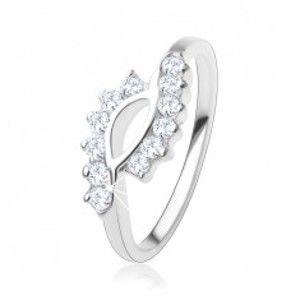 Zásnubní prsten ze stříbra 925, zvlněné konce ramen, čiré zirkony SP58.10