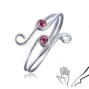 Zdvojený prstýnek ze stříbra 925 - dva růžové zirkony se smyčkami AC1.21