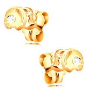 Zlaté 14K náušnice s puzetkami - malý slon s čirým zirkonem GG208.19