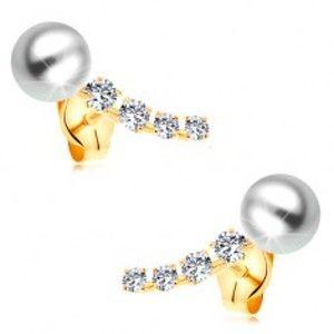 Zlaté 14K náušnice, zářivý zirkonový oblouk a bílá kulatá perla bílé barvy GG177.51