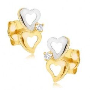 Zlaté dvoubarevné náušnice 585 - obrysy nepravidelných srdcí, malý zirkonek GG21.03