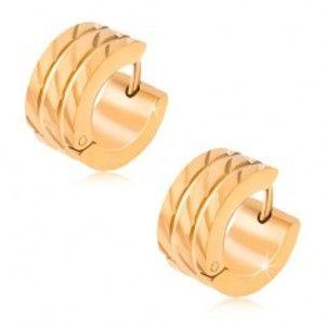 Zlaté kruhové náušnice z oceli, dvě rovné rýhy, diagonální zářezy S49.24