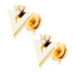 Zlaté náušnice 585 - bílý trojúhelník s výřezem, tři čiré zirkonky GG87.05