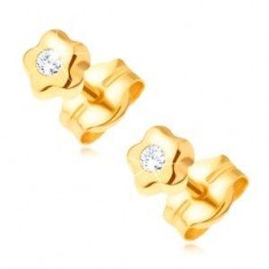 Zlaté náušnice 585 - drobný kvítek s čirým kulatým kamínkem  GG21.13