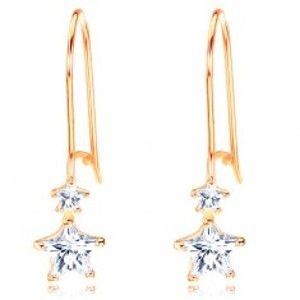 Zlaté náušnice 585 - dvě blýskavé hvězdičky v čiré barvě, háčky GG103.22