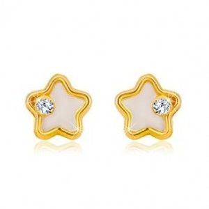Zlaté náušnice 585 - hvězdička s bílou přírodní perletí a čirým zirkonem GG36.14