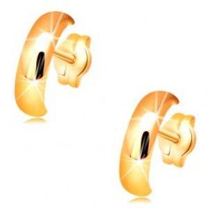 Zlaté náušnice 585 - lesklé hladké půlkruhy s vypouklým povrchem GG33.27