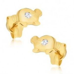 Zlaté náušnice 585 - malé lesklé želvy s čirým briliantem na krunýři BT500.09