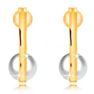 Zlaté náušnice 585 - úzký svislý proužek, bílá perla v zahnuté spodní části GG16.22
