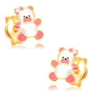 Zlaté náušnice 585, medvídek zdobený růžovou a bílou glazurou, puzetky GG32.19