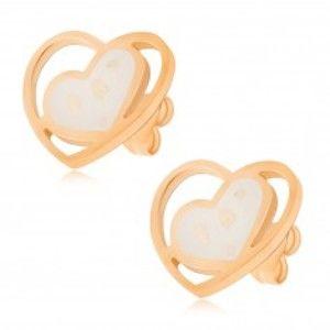 Zlaté náušnice z oceli, bílé perleťové srdce v kontuře srdce S54.01