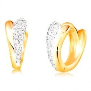 Zlaté kruhové náušnice 585 - lesklé slzičky ze žlutého a bílého zlata, zirkony GG210.38