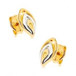 Zlaté puzetové náušnice 375 - dvoubarevný lupínek květu, rhodiovaný povrch GG43.01