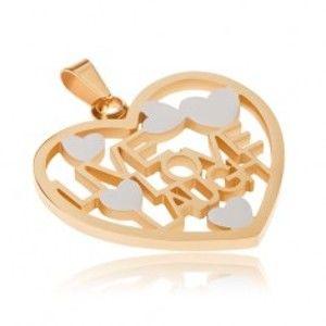 Zlato-stříbrný přívěsek z oceli, obrys srdce, LIVE, LOVE, LAUGH S45.17
