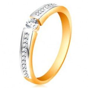 Zlatý 14K prsten s lesklými dvoubarevnými rameny, čiré zirkony GG195.52/58