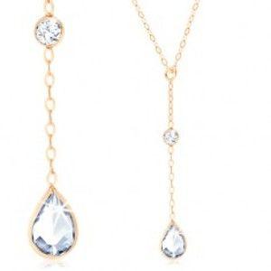 Zlatý náhrdelník 375, řetízek z oválných oček, visící čirá zirkonová slza GG59.04
