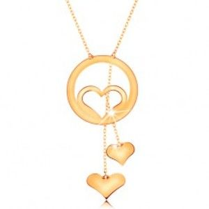 Zlatý náhrdelník 585 - kontura srdce v kroužku a dvě visící srdíčka na řetízcích GG160.04