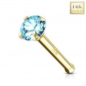 Zlatý piercing do nosu 585 - rovný tvar, světle modrý zirkon, žluté zlato, 2 mm GG221.11