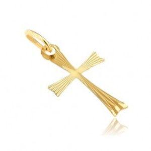 Zlatý přívěsek 585 - křížek s rozdvojenými rameny s paprsky GG07.20
