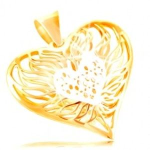 Zlatý přívěsek 585 - velké dvoubarevné srdce, střed z bílého zlata, plameny okolo GG212.02