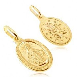 Zlatý přívěsek 585 - oválná známka se symboly Panny Marie GG05.05