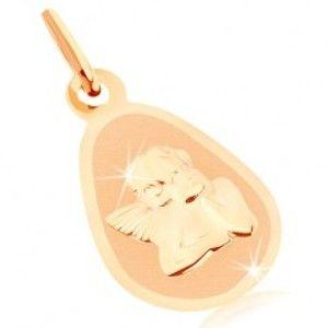 Zlatý přívěsek 375 - matný plochý medailon, zaoblená slza, lesklý andílek GG82.13