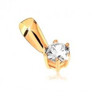 Zlatý přívěsek 375 - kulatý zirkon v ozdobném kotlíku s tyčinkami GG32.04