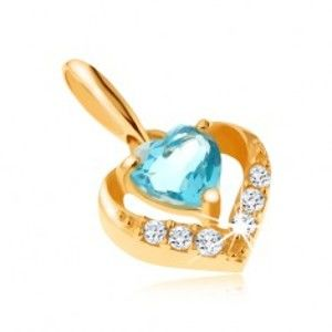 Zlatý přívěsek 375 - zirkonový obrys srdce, modrý srdíčkový topas GG64.17