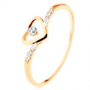 Zlatý prsten 375, kontura srdce s čirým zirkonkem, zdobená ramena GG114.16/17