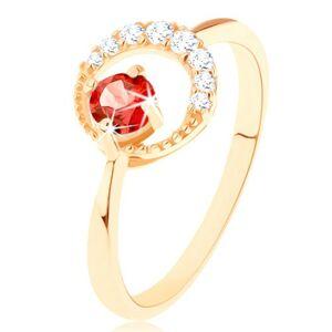 Zlatý prsten 375 - zirkonový srpek měsíce, kulatý červený granát - Velikost: 57