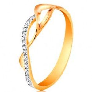 Zlatý prsten 585 - asymetricky propletené vlnky - dvě hladké a jedna zirkonová GG189.80/87