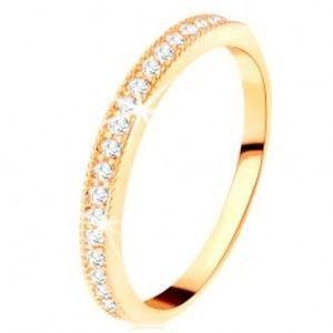 Zlatý prsten 585 - čirý zirkonový pás s vyvýšeným vroubkovaným lemem GG112.10/16