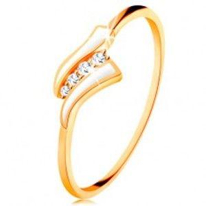 Zlatý prsten 585 - dvě bílé vlnky, linie čirých zirkonů, lesklá ramena GG133.05/31/34